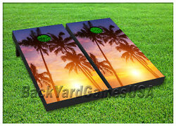 VINYL WRAPS Cornhole Boards DECALS Palm Trees w Sunset BagToss Game Stickers 87