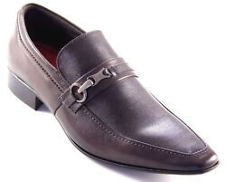 Sarreti Men's Brown Leather Slip On Made In Brazil Dress Shoes Style1305