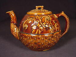 Very Rare 1800s Teapot Basket Weave And Blackberry Rockingham Yellow Ware Mint