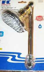 Fc Fixed Mount Euro Design 4 Showerhead W/ext. Arm New