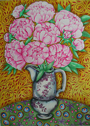Pink Peonies Country Cottage Painting Original Signed Fine Art Watercolor 30