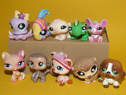 2) Littlest Pet Shop LPS Mixed Lot 10 Different Pets All Good Condition