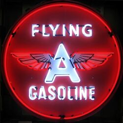 Flying A Gasoline Neon Sign - Gas And Motor Oil - Massive 36 - Metal Can - Dealer