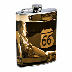 Route 66 D10 Flask 8oz Stainless Steel Historical Famous Us Roads