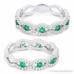 0.68 Ct Round Cut Emerald And Diamond Pave Evil Eye Charm Ring In 14k White Gold