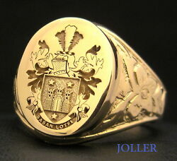 Antique Signet Ring 18x15 Xl 18kt Solid Gold Custom Engraved Your Family Crest
