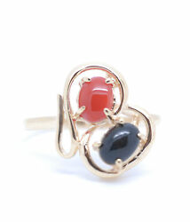 Genuine Natural Hawaiian Oval Cabochon Black And Red Coral 14k Yellow Gold Ring