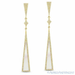 Mother Of Pearl And 0.50ct Diamond Pave 14k Yellow Gold Dangling Stiletto Earrings