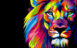 Colorful Lion Head Home Decor Canvas Print choose your size.