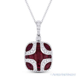 2.18 ct Red Ruby & Diamond Pave Pendant in 18k White Gold w 14k Chain Necklace