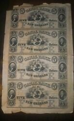 Rare 1880s New Orleans Canal Bank 5 Obsolete Bank Notes, Uncut Sheet Of 4, Unc