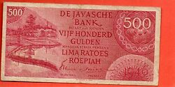 1946 NETHERLANDS INDIES 500 GULDEN note .Rare Replacement