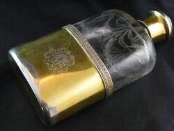 French Etched Glass And Silver Gilt Spirit Flask Andndash G Keller