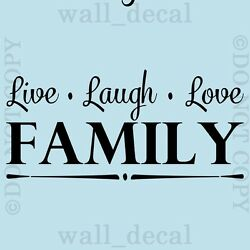 Live Laugh Love Family Wall Quote Vinyl Decal Decor Lettering Mural Sticker