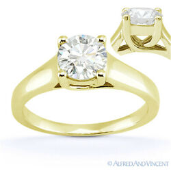 Round Brilliant Cut Moissanite 14k Yellow Gold Trellis Solitaire Engagement Ring