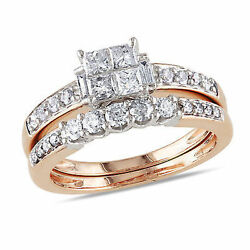 Amour 14k Pink Gold Diamond Princess Solitaire With Accents Bridal Ring Set