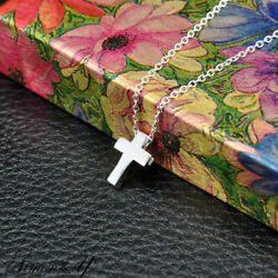 Sterling Silver 925 Small Plain Cross Women#x27;s Ladies Pendant Necklace 16quot; 18quot; $14.99