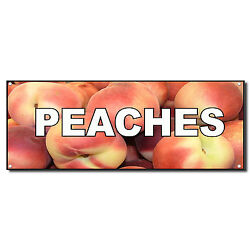 Peaches Food And Drink Vinyl Banner Sign W/ Grommets 2 Ft X 4 Ft