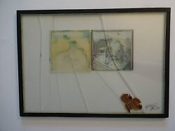 Jeffrey Blondes Beveled Glass Photo Collage / Vanity Tray And Dried Petals 1983