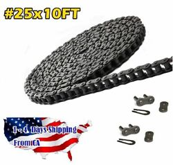 25 Roller Chain 10 Feet With 2 Connecting Links