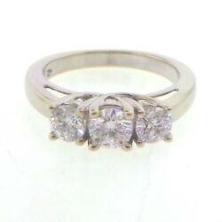 Gorgeous Genuine Diamond And Solid 14k White Gold Anniversary 3 Stone Band Ring