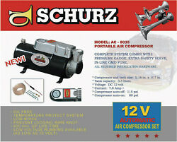 New 12v Dc Truck Pickup On Board Air Compressor And 3.5 Liter Tank For Air Horns