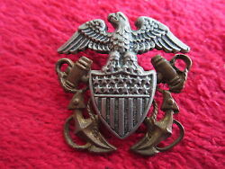 Vintage Wwii U.s. Navy Commissioned Officer's Garrison Cap Pin
