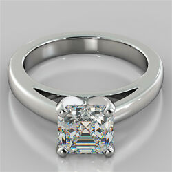 Asscher Cut Cathedral Style Engagement Ring In 14k White Gold