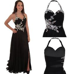 Womens Halter Neck Floral Diamante Chiffon Trail High Low Maxi Prom Ball Gown