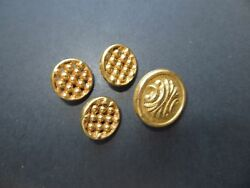 Antique Set Of Gold-tone Openwork Brass Metal Cardigan Craft Collectible Buttons