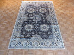 6 X 9 Hand Knotted Charcoal Gray Fine Oushak Oriental Rug Vegetable Dyes G1312
