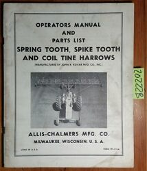 Allis-chalmers Spring Tooth Spike Tooth And Coil Tine Harrow Operator Parts Manual
