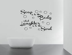 Soap Body Bath Soul ralax Quote Wall Stickers Art bathroom Removable Decals DIY