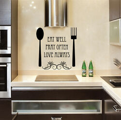 Eat pray love fork spoon Quote Wall Stickers Art kitchen Removable Decals DIY