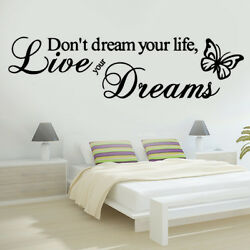 Live Your Dreams Butterfly Love Quote Wall Stickers Bedroom Removable Decals DIY