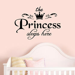 Princess Sleeps Baby Kids Girl Quote Wall Stickers Art Room Removable Decals DIY
