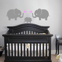 Elephant Family Wall Vinyl Decal Sticker 3 Elephants w Hearts Nursery Decor