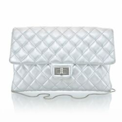 CHANEL Silver 2.55 Reissue Clutch Quilted Flap Classic Metallic Shoulder Bag