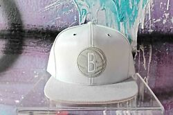 Mitchell And Ness Brooklyn Nets White Lamb Skin With Suede Exclusive Snapback Hat