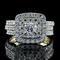 3 Ct Round Cut Simulated Diamond Halo Engagement Ring 10k Solid Yellow Gold