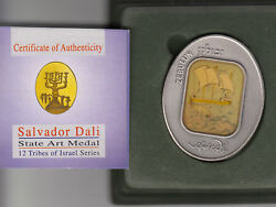 Salvador Dali Tribes Of Israel Zebulun 105g Pure Silver Oval State Medal S/n 860
