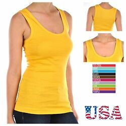 Women 100% Cotton Ribbed Tank Top T-Shirt Sports Gym Fashion Casual Sleeveless T