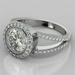 2.63ct Round Cut Engagement Ring In 14k White Gold With Optional Matching Band