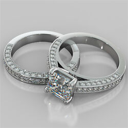 2.95ct Asscher Cut Engagement Ring And Matching Band Available In 14k White Gold