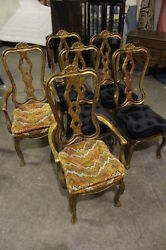 6 Hollywood Regency Italian Provincial Queen Anne Chairs W/ Mottled Gilt Finish