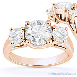 Round Brilliant Cut Moissanite 3-stone Setting Engagement Ring In 14k Rose Gold