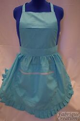 Retro Vintage 50's Style Full Apron / Pinny With Zipped Pocket - Turquoise