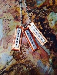 Silver And Gold Bronze Hand Stamped Personalized Necklace Rectangle Bars