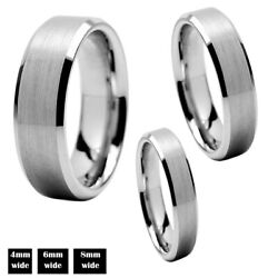 Tungsten Carbide Silver Wedding Band Mens Women Brushed Comfort Fit Ring 6mm 8mm $11.95