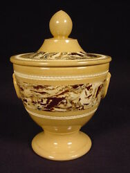Very Rare C1800 Agate Decorated Sugar Bowl With Lid Mocha Mochaware Yellow Ware